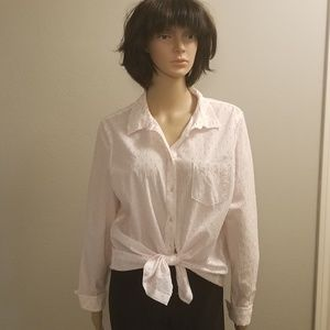 Merona White and Pink Button Down Shirt